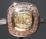 SOLD...Yellow Diamond Ring: 1.03ct Q-R VVS2 Cushion Cut Diamond Halo Ring GIA R4925
