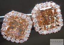 SOLD.....Brown Diamond Earrings: 2.43ctw Brown Radiant Cut Diamond Halo Earrings R4914