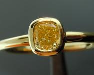 SOLD.....Yellow Diamond Ring: .36ct Fancy Yellow VVS2 Cushion Cut GIA Bezel Set Ring R4897