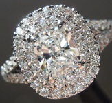 SOLD....Colorless Diamond Ring: .53ct E VS1 Cushion Cut GIA Split Shank Double Halo R4958