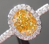 SOLD...Yellow Diamond Ring: 1.00ct Fancy Intense Yellow Internally Flawless Oval Shape GIA Halo Ring R4929