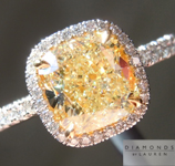 SOLD....Yellow Diamond Ring: 1.71ct Fancy Light Yellow VS1 Cushion Cut GIA Halo Ring R4981