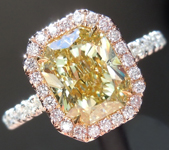 SOLD.....Diamond Ring: 1.70ct Fancy Greenish Yellow VS2 Radiant Cut GIA Pink Diamond Halo R4994