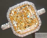 SOLD....Yellow Diamond Ring: 3.02ct Y-Z VS1 Radiant Cut GIA Hand Forged Halo Ring R4751
