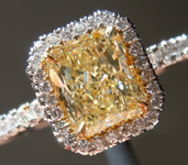 SOLD...Yellow Diamond Ring: 1.10ct Y-Z VS1 Radiant Cut GIA Uber Halo R4963