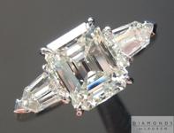 SOLD...Diamond Ring: 1.59ct K VVS1 Emerald Cut GIA Three Stone Ring Tapered Bullets R4884