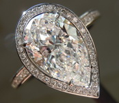 SOLD....Colorless Diamond Ring: 2.51ct E SI2 Pear Shape GIA Hand Forged Halo Ring R5014
