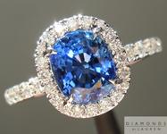 SOLD.... Sapphire Ring: 1.66ct Blue Cushion Cut Sapphire Diamond Halo Ring R5022