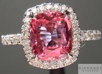 SOLD...Sapphire Ring: 1.84ct Deep Pink Cushion Cut Sapphire Diamond Halo Ring R5025