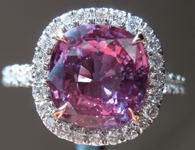 SOLD......Sapphire Ring: 3.01ct Deep Purple Pink Cushion Cut Sapphire Diamond Halo Ring R5028