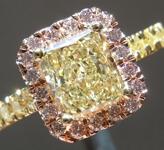 Yellow Diamond Ring: 1.01ct Fancy Light Yellow SI2 Radiant Cut GIA Pink Diamond Halo R5020