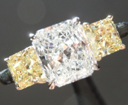 SOLD...Colorless Diamond Ring: .99ct E SI1 Radiant Cut GIA Fancy Intense Yellow Side Stones R5078