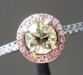 SOLD...Yellow Diamond Ring: .65ct W-X VS1 Old European Cut GIA Pink Diamond Halo R5084