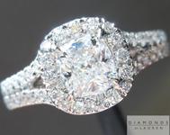 0.62ct D SI1 Cushion Cut Diamond Ring R5091