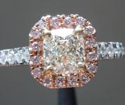 SOLD.....Diamond Ring: .78ct J VVS2 Cushion Cut GIA Pink Diamond Halo R5095