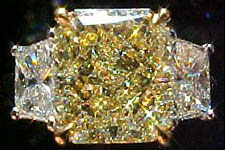 SOLD...Three Stone Diamond Ring- GIA 3.04ct Radiant Cut Yellow Diamond Ring w/Trapezoids R560