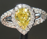 SOLD....Yellow Diamond Ring: .54ct Fancy Vivid Yellow SI1 Pear Shape GIA Split Shank Halo R5134