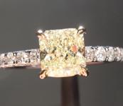 SOLD...Yellow Diamond Ring: 1.01ct U-V VS1 Radiant Cut GIA Claw Shape Prongs R5036