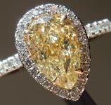 SOLD...... Yellow Diamond Ring: 1.61ct U-V VS1 Pear Modified Brilliant GIA Halo Ring R5125