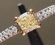 0.46ct Fancy Light Yellow VS1 Cushion Cut Diamond Ring R3440