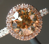 SOLD...Brown Diamond Ring: 1.60ct Fancy Brown Yellow VS2 Round Brilliant Halo Ring R5149
