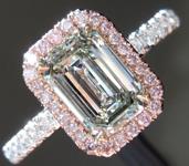 SOLD...Green Diamond Ring: 1.01ct Fancy Light Yellow Green VS2 Emerald Cut Diamond Halo Ring GIA R5183