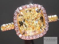 SOLD...Yellow Diamond Ring: 1.60ct Fancy Light Yellow VS2 Cushion Cut GIA Pink Diamond Halo R5197