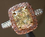 SOLD....Yellow Diamond Ring: 1.30ct W-X VS1 Cushion Cut GIA Pink Lemonade R5209