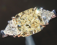 SOLD.....Yellow Diamond Ring: 1.55ct Y-Z VS2 Cushion with Trillants GIA Sparkling Lemonade R5228