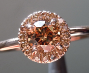 SOLD...Brown Diamond Ring: .47ct Fancy Deep Brown VS2 Round Brilliant Brown Gold Halo R4616