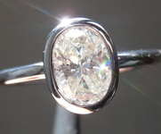SOLD.... Colorless Diamond Ring: .90ct H SI2 Oval Shape Bezel Set Ring R5194