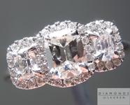 SOLD...Colorless Diamond Ring: .88cts E VS1 Cushion Cut Three Stone Diamond Halo Ring Great Price R4161