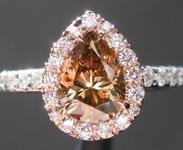 0.96ct Orangy Brown SI2 Pear Shape Diamond Ring R5253