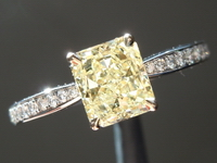 SOLD.......Yellow Diamond Ring: 1.03ct Fancy Light Yellow I1 Radiant Cut Diamond Ring GIA R5263