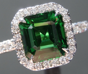 SOLD...Tsavorite Ring: 1.91ct Asscher Cut Tsavorite and Diamond Halo Ring R5271