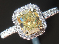 SOLD....Yellow Diamond Ring: .90ct Fancy Yellow VS2 Radiant Cut GIA Halo Ring R5284
