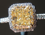 SOLD.....Yellow Diamond Ring: 2.01ct Y-Z VVS2 Radiant Cut GIA Hand Forged Halo Ring R5303