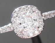 0.71ct D I1 Cushion Cut Diamond Ring R5316