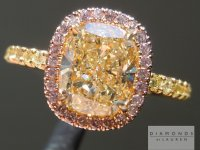SOLD...Yellow Cushion Diamond Ring: 1.71ct W-X VVS2 Cushion Cut GIA Pink Halo R5286