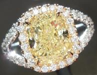 SOLD.....Yellow Diamond Ring: 2.16ct Y-Z, Natural Light Yellow Cushion Cut GIA Split Shank Halo R5325