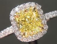 SOLD....Yellow Diamond Ring: 1.21ct Fancy Intense Yellow SI1 Cushion Modified Brilliant Diamond Halo Ring GIA R5337
