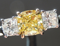 SOLD...Yellow Diamond Ring: .71ct Fancy Intense Yellow I1 Cushion Cut GIA Three Stone Ring R5336