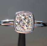 SOLD...Colorless Diamond Bezel Ring: 1.01ct J VS1 Cushion Cut GIA Beautiful Cut GIA R5233