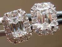 SOLD... Diamond Halo Earrings: .73cts F VS Emerald Cut Hand Forged Earrings R5341