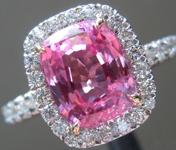 SOLD...Sapphire Ring: 2.69ct Pink Cushion Cut Sapphire Diamond Halo Ring   R5347
