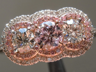 SOLD....Purple Diamond Ring: .33ct Fancy Light Pinkish Purple Round Brilliant Double Halo Three Stone Ring R5331