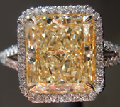 SOLD....Yellow Diamond Ring: 3.85ct U-V SI2  Radiant Cut GIA Uber Halo Ring R5360