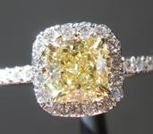 SOLD.....Yellow Diamond Ring: .92ct Fancy Yellow VS1 Cushion Cut Diamond Halo Ring GIA R5378