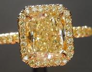 SOLD...Yellow Diamond Ring: 1.51ct Fancy Light Yellow VS2 Radiant Cut GIA Yellow Diamond Halo R5408