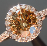 SOLD...Brown Diamond Ring: 1.35ct Fancy Yellow-Brown SI1 Round Brilliant Rose Gold Halo R5415